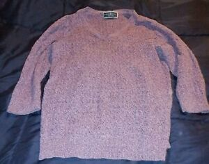 Karen Scott Petite Woman's Large Purple Sweater with 3/4 Sleeves