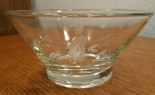 Princess House Heritage Etched Clear Small Serving Dip / Snack Bowl