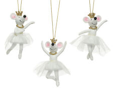 3 x White Mouse Princess Ballet Dancing Mice Hanging Christmas Tree Decorations