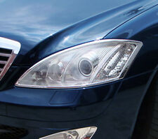 Mercedes S Class W221 Chrome Headlight Trim Bezels by Luxury Trims 2007-2013