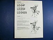 Sony Lo-24F Lo-24Z Lo-24Zs Flexible Cable Servo Control Unit Manual Instruction