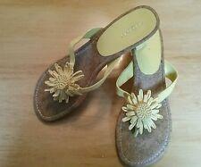 FIONI womens yellow sandals size 8 women's shoes kitten heel flip flop flower