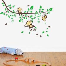 Wandsticker Wandtattoo Kinderzimmer bunt Tiere Wald Affe Baum grün schwarz groß
