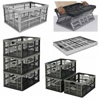 COLLAPSIBLE 32 LITRE PLASTIC STORAGE BOX STACKABLE HOME GARAGE WAREHOUSE NEW