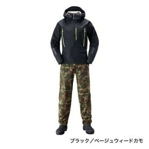 NEW SHIMANO DS Explorer Suit Fishing RA-024S BK/BW Black Beige Weed Camo L