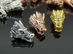 Solid Metal Dragon Head Bracelet Necklace Connector Charm Beads Silver Gold Rose