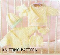 (602) Baby Cardigan COPY Knitting Pattern, Sweater, Hat, Booties in DK yarn