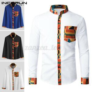 Männer Blumen Afrikanisches Dashiki-Langarmhemd Formale T-Shirt Bluse Tops Tee