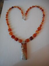 Carnelian bead necklace w/ Red river jasper  pendant