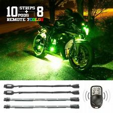 10 Pod 8 Strip 7 Color Remote Kit for Motorcycle Neon Underglow LED Lighting