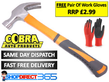 Fibreglass Claw Hammer 16oz Rubber Curved Rubber Grip Polished Head + Gloves 232