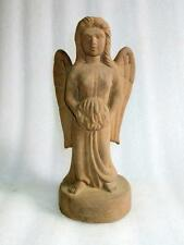 Antique Old Rare Hand Carved Send Stone Beautiful Angel With Wing Figure Statue
