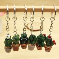 Mini Cactus Key Ring Keychain Keyring Women Bag Charm Pendant Key Chain RDR