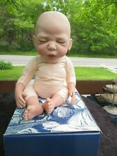 """Sheila Michael 2004 reborn doll- cloth stuffed & weighted body sleeping 18""""w box"""