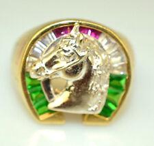 VINTAGE MENS 14K YELLOW WHITE & ROSE GOLD HORSE SHOE RING 9.8 GRAMS SIZE 11.25