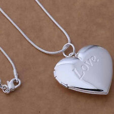 KQ_ Unisex 925 Silver Plated Heart Locket Photo Charm Pendant Chain Necklace San