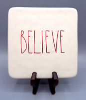 Rae Dunn BELIEVE RED Letters White Ivory Hot Plate Board Trivet by Magenta
