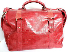 Bath Body Works Red Faux Croc Embossed Overnight Weekender Travel Bag Luggage