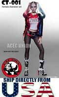 1/6 Suicide Squad Harley Quinn Sexy Clothing Set With Head Sculpt  U.S.A. SELLER