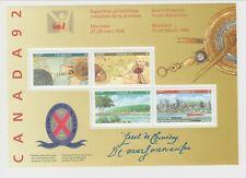 MNH Canada '92 Signed / Signature Souvenir Sheet #1407ai (Lot#ss1)