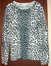 727f9694883 Cathy Daniels White-Gray-Black Animal Print Long Sleeve Acrylic Sweater-S-M