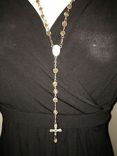 Rosary beads NEW, Blessed in Fatima, Clear and Brown