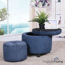 Alex Fabric Round Ottoman with Foot Stool