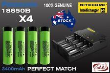 4 x 100% Genuine Panasonic NCR18650B Plus Nitecore i4 Intelli Charger