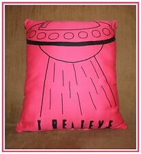 "Handmade screen printed decorative throw pillow UFO ""I Believe"" Pink Yellow Dots"
