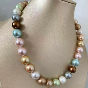 each knot 12 mm southsea Champagne brown pink shell pearl necklace 20 inch