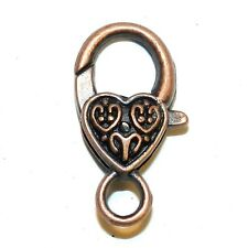 M397p Antiqued Copper Large 26mm Heart Design Lobster Claw Focal Clasp 5/pk
