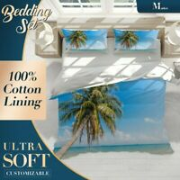 Blue Sky Beach Palm Tree Duvet Cover Set with Zipper And Pillowcase