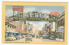 Virginia Street Cars Reno Nevada linen postcard