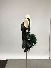 Black & Emerald Ballroom Latin Salsa Dance Dress Costume S/M, US Size 4-8