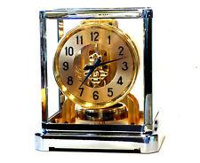 F/SERVICED  1940s JAEGER LECOULTRE*ATMOS II RHODIUM*CLOCK W/BOX #13XXX WORKING