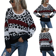 Womens Winter Long Sleeve Autumn Casual Sweater Color Block Tops Pullover Blouse