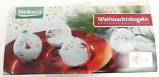 Weihnachts Baum Kugeln Melinera 4 Stk. Kunststoff mit Schneeffekt Neuware