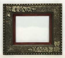 Antique Late 19th C Aesthetic Movement Silver & Red Velvet Frame 8 x 10 Opening