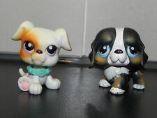 Littlest Pet Shop #145 St Bernard Puppy Dog & #84 White & Tan Boxer Puppy LPS