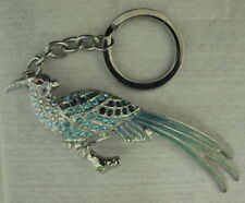 """""""NEW"""" CRYSTAL PARROT W/BLUE & PINK CRYSTALS SILVER KEY CHAIN OR PURSE PULL DECO"""