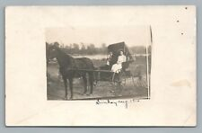 "Couple in Horse Cart RPPC Riding Whip—Antique Photo ""Sunday"" 1910"
