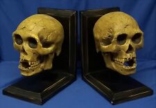 NEMESIS NOW KNOWLEDGE WAITS FOR NO ONE SKULL BOOKENDS - FIGURE MODEL OR ORNAMENT