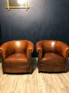 Pair of amazing Dutch Leather Tub chairs