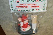 Christmas Toothpick Holder Vintage McCrory 1988 Mouse Santa  Decoration VTG