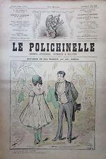 CARICATURE SOUVENIR DE BAL MASQUE JOURNAL SATIRIQUE LE POLICHINELLE N° 3 de 1874
