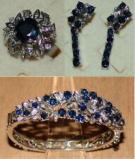 Ring, Armreif, Ohrringe - Saphire, Diamanten, Weißgold (18K)