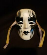 "Porcelain Ceramic Painted Wall Hanging Face Mask 4 1/4"" x 3"""