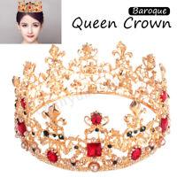 Baroque Queen Gold Crown Crystal Rhinestone Gold Tiara Hair Band Wedding Bridal