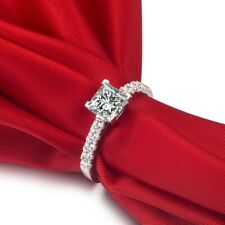 1.50 CT Diamond Princess Cut Engagement Wedding Ring 14K White Gold Over