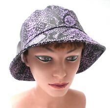 Sombrero Mujer Lluvia CON ACABADO REPTIL Negro Lila de tormenta Para Dama Gorra